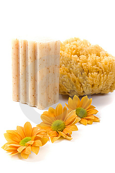 Natural Sponge, Soap And Flowers Royalty Free Stock Image - Image: 8694486