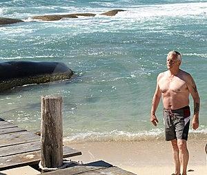 Senior Enjoying The Beach. Royalty Free Stock Images - Image: 8696489