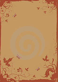 Grunge Retro Floral Frame With Butterflies For You Royalty Free Stock Photo - Image: 8700945