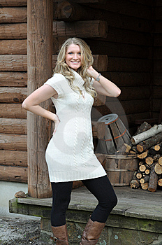 Blond Girl Log Cabin Royalty Free Stock Photography - Image: 8703147