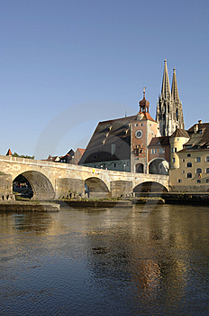A Panorama View To German Town Regensburg Stock Photo - Image: 8703870