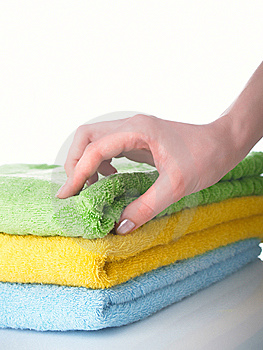 Towels On A Table Royalty Free Stock Photos - Image: 8703928