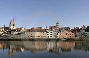 A Panorama View To German Town Regensburg Stock Photography - Image: 8703962