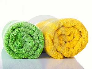 Towels On A Table Royalty Free Stock Photography - Image: 8704037
