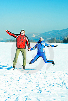 Happy Jumping Couple Royalty Free Stock Images - Image: 8708009