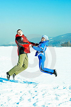 Happy Jumping Couple Royalty Free Stock Photography - Image: 8708087