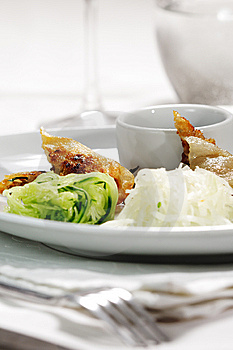 Thai Dishes - Rolls With Beef And Oyster Sauce Royalty Free Stock Photo - Image: 8708895