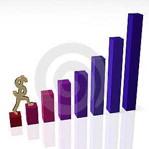 Dollar Sign Climbing Bar Chart Stock Photo - Image: 8710890