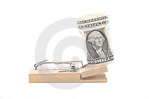 American Dollar Bill On Mouse Trap Stock Image - Image: 8712291