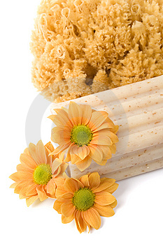 Natural Sponge, Soap And Flowers Royalty Free Stock Photos - Image: 8712868