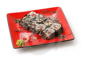 Rolls With Seaweed, Salmon And Octopus Royalty Free Stock Photos - Image: 8713598
