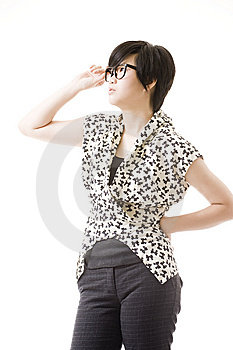 Female Asian Model On White Royalty Free Stock Photography - Image: 8716197