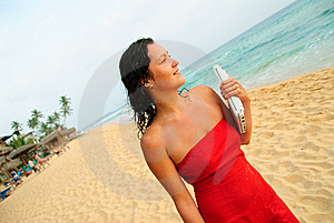 Beautiful Smiling Young Woman With Laptop On Beach Stock Photography - Image: 8716412