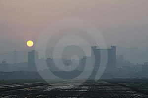 The Foggy City And Sunset Royalty Free Stock Photo - Image: 8718935
