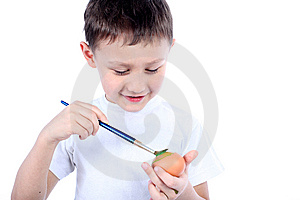Boy Painting Easter Egg Stock Photography - Image: 8722712