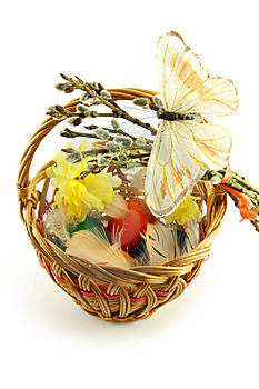 Easter Basket With Butterfly Stock Image - Image: 8723151
