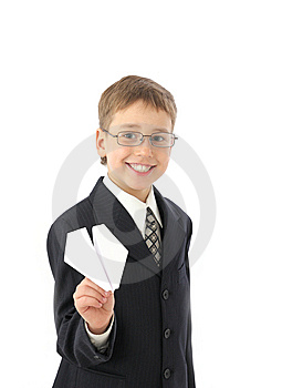 Boy Starts Paper Plane Royalty Free Stock Photography - Image: 8723287