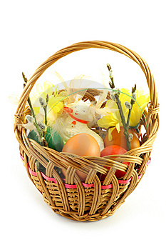 Easter Basket, With  Colored Eggs And Lamb Royalty Free Stock Image - Image: 8723306