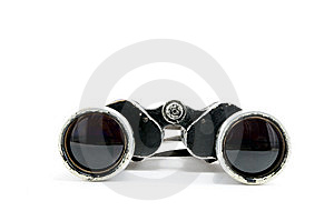 The Old Black Binoculars On A White Background Stock Photography - Image: 8724182