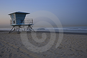 Life Guard Station On Beach At Sunrise Stock Images - Image: 8727434