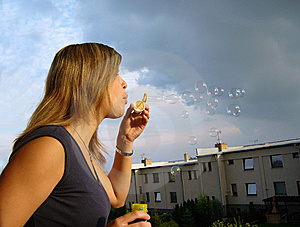 A Girl Blowing Soap-bubbles Royalty Free Stock Photos - Image: 8727768