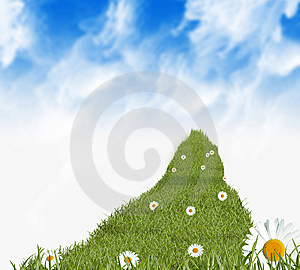 Grass Path And Daisies Stock Photo - Image: 8734730