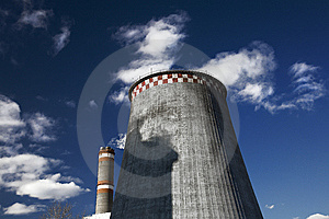 Polution, Smoking Pipes Against Blue Sky Royalty Free Stock Photos - Image: 8735698