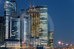View At Business Center Skyscrapes At Night Stock Photo - Image: 8735720