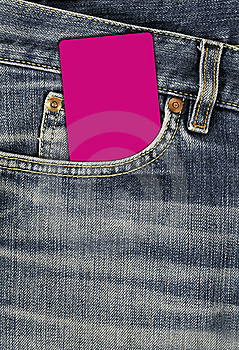 Jean Texture With Pocket And Empty Card Royalty Free Stock Photography - Image: 8738347