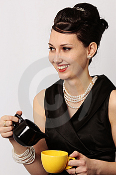 Classic Lady Serving Tea At Breakfast Stock Images - Image: 8739014