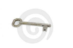 An Old Silver Key Isolated On White Background Royalty Free Stock Photography - Image: 8739447