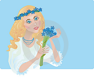 A Girl Is In The Chaplet Of Corn-flowers Stock Photography - Image: 8741562