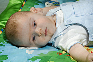 Baby Boy On Colorful Blanket Stock Images - Image: 8742134