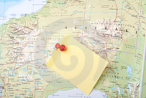 Yellow Note And Red Pin On Map Stock Photo - Image: 8743400