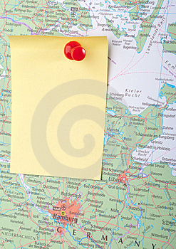 Yellow Note And Red Pin On Map Stock Image - Image: 8743411