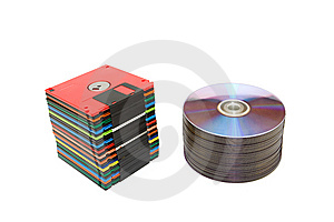 Stack Of Compact And Floppy Disk Stock Image - Image: 8744481