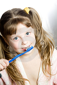 Girl With Toothbrush Royalty Free Stock Image - Image: 8746596