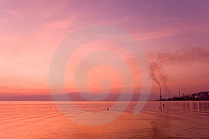 Industrial Plant Over Sea In The Sunset Royalty Free Stock Photography - Image: 8749157