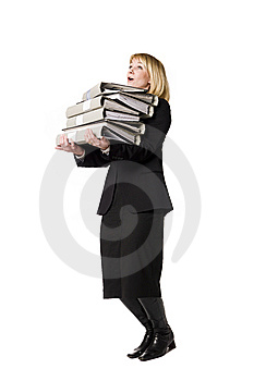 Woman With Folders Royalty Free Stock Photo - Image: 8749635