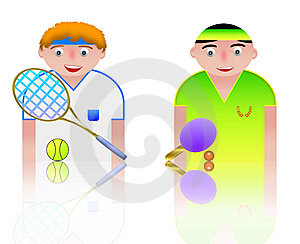 People Icons Tennis And Ping Pong Stock Photo - Image: 8750180