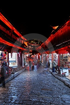 Night Lijiang, Shopping Royalty Free Stock Photography - Image: 8751597
