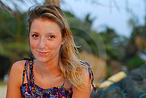 Beautiful Young Blond Girl Sitting On Beach Royalty Free Stock Images - Image: 8753879