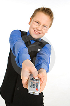 Funny Boy With Tv Remote Control Stock Photos - Image: 8753933