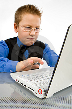 Funny School Boy With Laptop Isolated On White Royalty Free Stock Photos - Image: 8753968