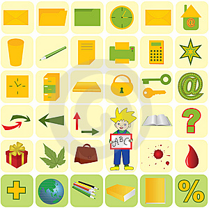 Vector Illustration - Office And School Icon Set Stock Photos - Image: 8754813
