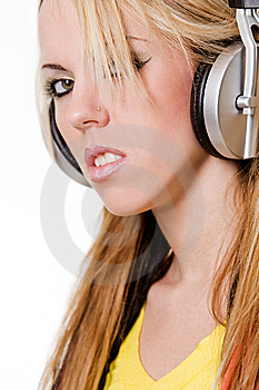 Girl With Headphones Portrait Royalty Free Stock Photo - Image: 8755355