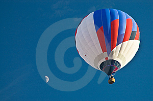 Balloon In The Blue Sky With Moon Stock Photo - Image: 8755860