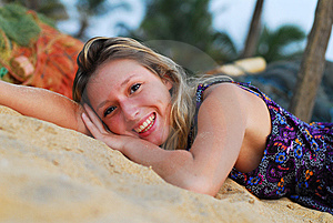 Attractive Blond Girl Laying On Beach Stock Photography - Image: 8756432