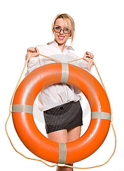 Businesswoman With Red Life Buoy Stock Images - Image: 8756504