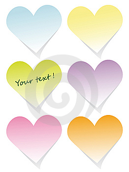 Colorful Heart Post-it Set Stock Images - Image: 8756534